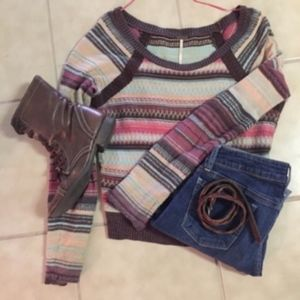 Free People EUC Shoulder Cropped Sweater